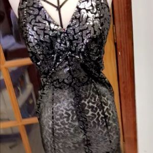 Custom Made sequin see through black mini dress.